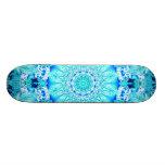 Aqua Lace, Delicate, Abstract Mandala Skateboard Deck
