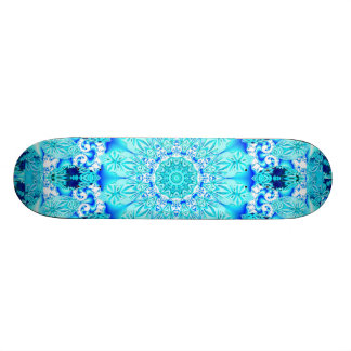 Aqua Lace, Delicate, Abstract Mandala Skateboard Deck