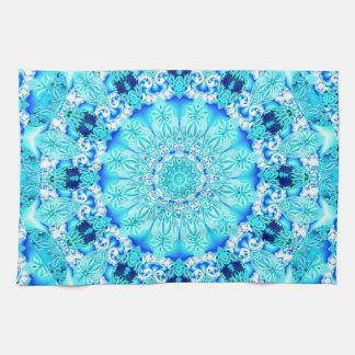 Aqua Lace, Delicate, Abstract Mandala Tea Towel