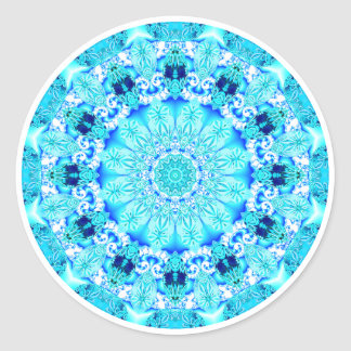 Aqua Lace Mandala, Delicate, Abstract Round Sticker