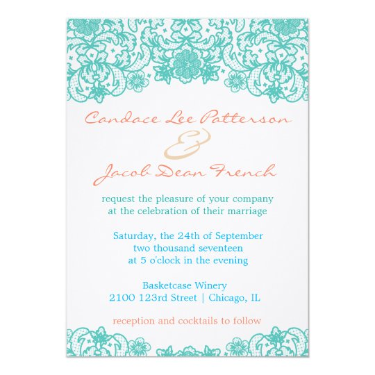 Aqua Lace Wedding Invitation