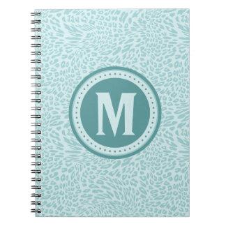 Aqua Leopard-Print Monogrammed Notebook