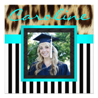 Aqua Leopard Stripes Grad Photo Invite