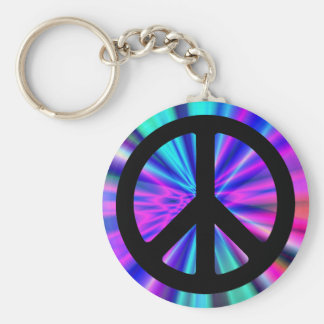 Aqua Light Show with Peace Sign Basic Round Button Key Ring