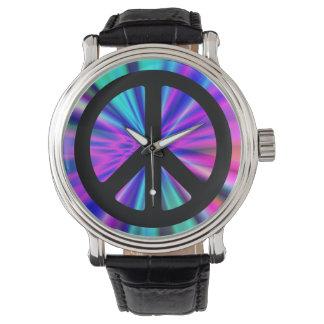 Aqua Light Show with Peace Sign Watch