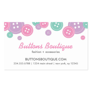 Aqua Lilac & Pink Cute Buttons Border Business Card Template
