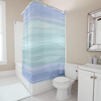 Aqua Lilac Watercolor Waves Mermaid Shower Curtain