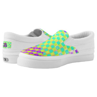 Aqua, Lime and purple Checked Pattern Monogram Slip On Shoes