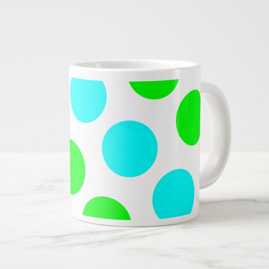 Aqua Lime and White Polka Dots Large Coffee