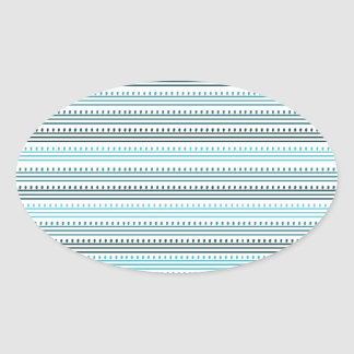 Aqua Lines and Dots Oval Sticker