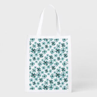 Aqua Lucky Shamrock Clover Reusable Grocery Bag