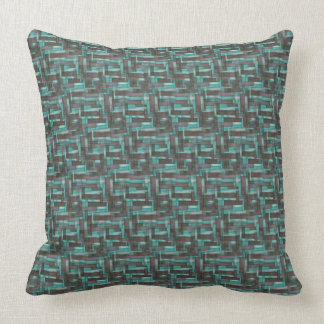 Aqua Mahogany Jumble Pattern Throw Pillow