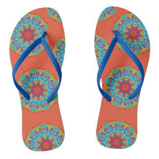 Aqua Mandala Style Flip Flops