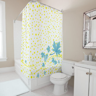 Aqua maple leaves and yellow polka dots shower curtain