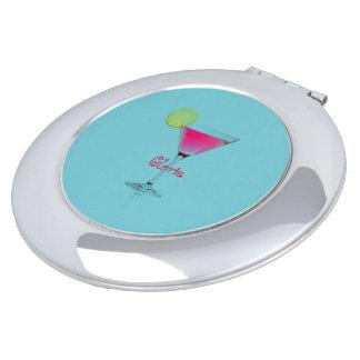 Aqua-Martini-Cocktails-Aqua-Fushia-Fun-Monogram Travel Mirrors