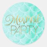 Aqua Mermaid Scales | Gold Typography Round Sticker