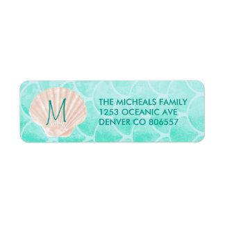 Aqua Mermaid Scales | Seashell Custom Address Return Address Label