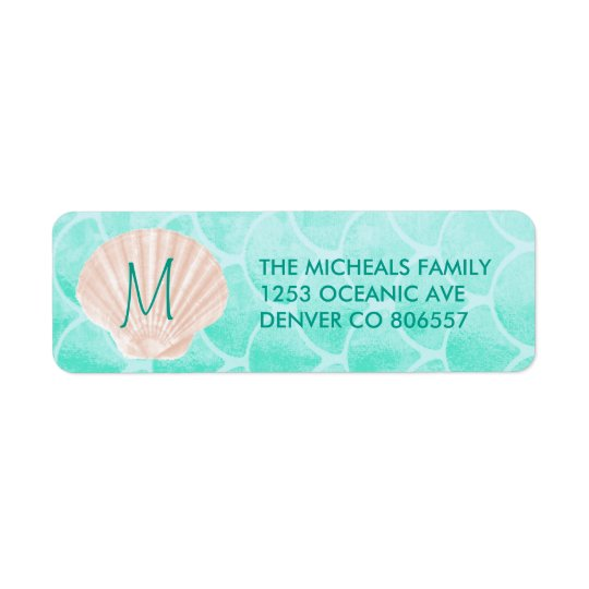 Aqua Mermaid Scales | Seashell Custom Address Return