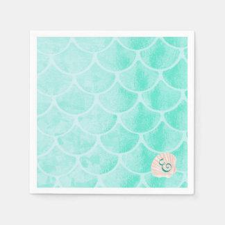 Aqua Mermaid Scales | Seashell | Custom Initial Disposable Napkins