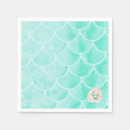 Aqua Mermaid Scales | Seashell | Custom Initial