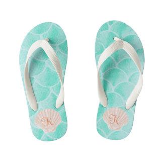 Aqua Mermaid Scales | Seashell Custom Initial Kid's Flip Flops