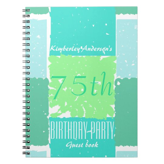 Aqua Mint Green Colours 75th birthday Guest Book