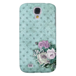 Aqua mint green polka dots floral  Galaxy s4 case