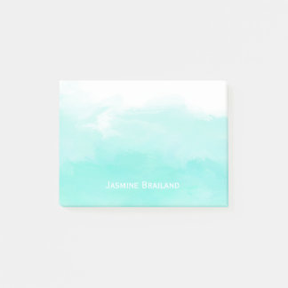 Aqua mint green watercolor brush strokes personal post-it notes