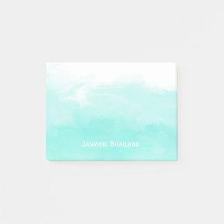 Aqua mint green watercolor brush strokes personal post-it notes