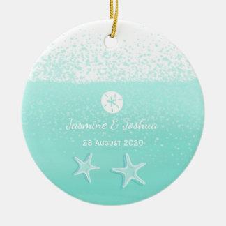 Aqua mint green watercolor sand dollar starfish round ceramic decoration
