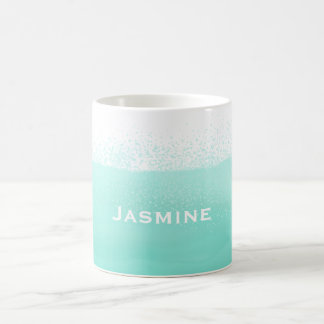 Aqua mint green watercolor splash customize coffee mug