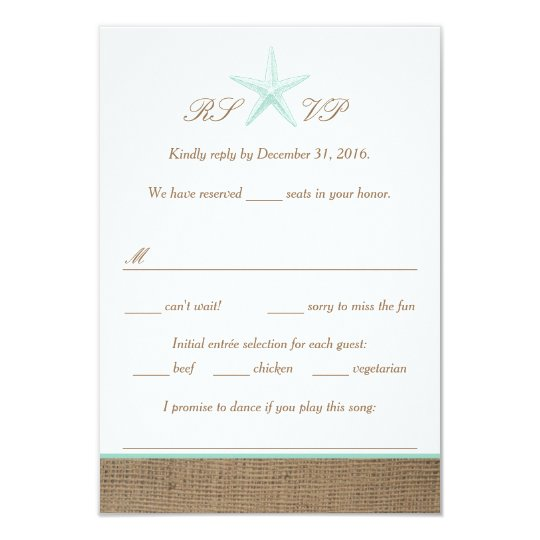 Aqua Mint Starfish Burlap Beach Wedding RSVP Cards