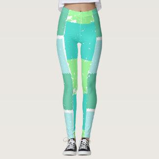 Aqua Mint Trendy Colors Faux-Batik Leggings