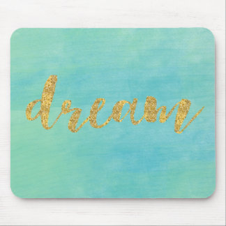 Aqua Mint Watercolor Gold Dream Mouse Mat