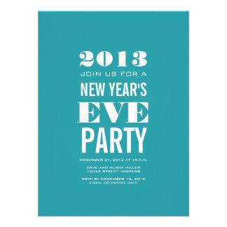 Aqua Modern 2013 New Year's Eve Party Invitation