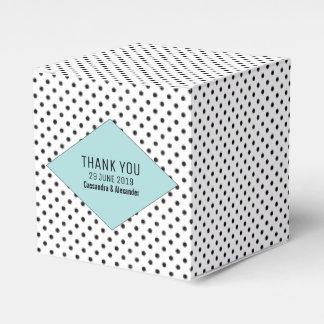 Aqua Modern Polka Dots Wedding Favour Box