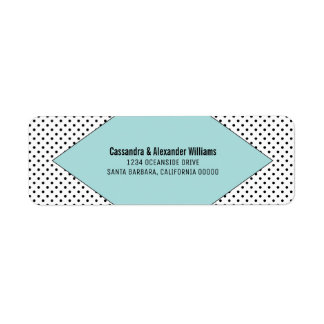 Aqua Modern Polka Dots Wedding Return Address Label