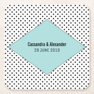 Aqua Modern Polka Dots Wedding Square Paper Coaster