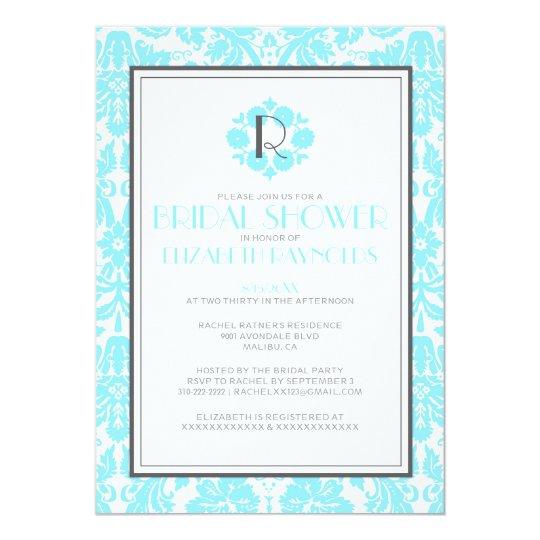 Aqua Monogram Damask Bridal Shower Invitations