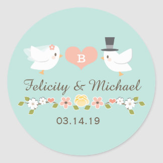 AQUA MONOGRAM DOVE LOVE BIRDS WEDDING ROUND STICKER