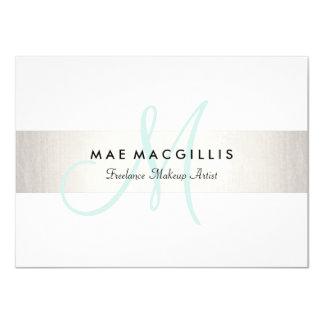 Aqua Monogram FAUX Silver Stripe Gift Certificate Card