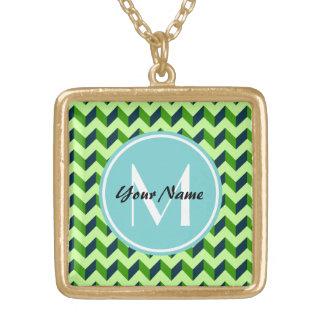 Aqua Monogram Green Chevron Patchwork Pattern Square Pendant Necklace