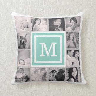 Aqua Monogram Instagram Photo Collage Throw Pillow