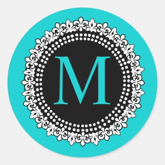 Aqua  Monogram M Fleur de lis Wedding Sticker