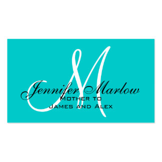 Aqua Monogram Mommy Calling Card Pack Of Standard Business Cards