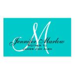Aqua Monogram Mummy Calling Card Business Cards