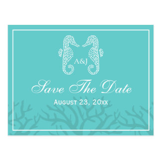 Aqua Monogram Seahorse Save The Date Postcards
