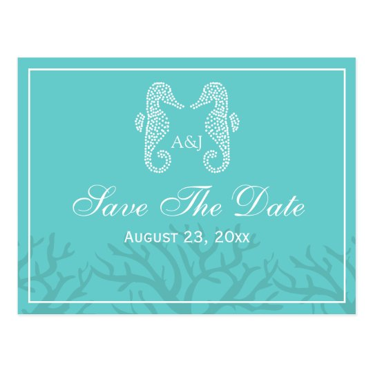 Aqua Monogram Seahorse Save The Date Postcards
