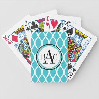 Aqua Monogrammed Barcelona Print Bicycle Playing Cards
