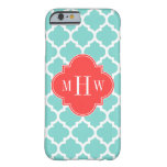 Aqua Moroccan #5 Coral Red 3 Initial Monogram Barely There iPhone 6 Case